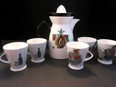 Vtg Mid Century NAPCO Japan Coffee Pot Ceramic Juice Pitcher, Reamer & 5 Cup Set