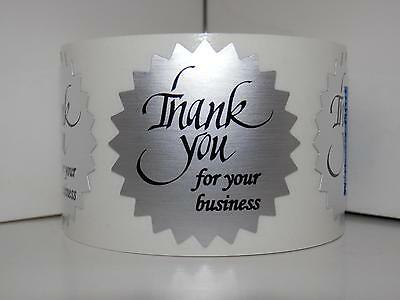 "Thank You For Your Business Label Sticker 1.5"" Starburst dull silver foil 250/rl"