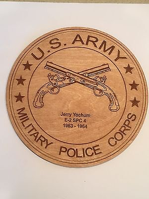 Military Police Laser Engraved Plaque, US Army, MP, Personalized, Wooden, 8""