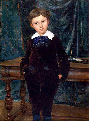 Oil painting Jules Bastien-Lepage French Portrait The Little Lord Hand painted