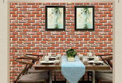 3D Rustic brick look Pottery Red wallpaper industrial shop fitting PVC wallpapar