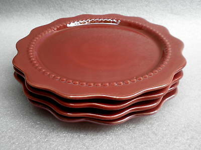Pereiras Portugal Salad Plate x 4 Russet Red 8.5in Embossed Bead Trim Scalloped