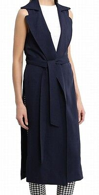 TopShop NEW Navy Blue Women's Size 6 Belted Sleeveless Long Jacket $42 #644