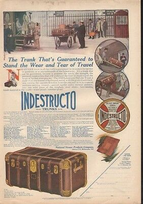 1910 Indestructo Trunk Luggage Travel Storage Chest Ad9147