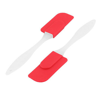 Home Bakery Silicone Cake Cream Butter DIY Baking Tool Spatula Scraper Red 2 Pcs