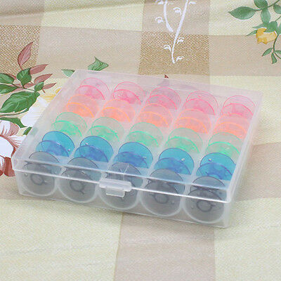Useful 25pc Colorful Bobbin Sewing Machine Plastic Spools With Box Home Supplies