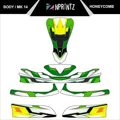 Mk 14 Honeycomb Style Full Kart Sticker Kit - Karting - Otk - Evk-Cadet-Rookie