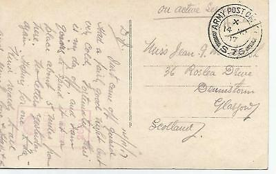 1917 Army Post Office Cancel On Postcard To Glasgow Ref 339