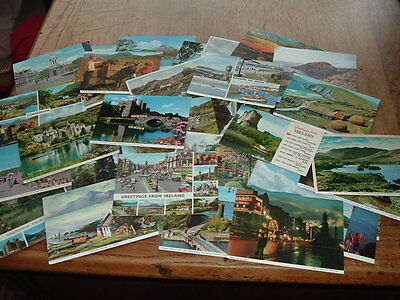 IRELAND 38 x POSTCARDS    used with  STAMPS 1970's-1980's