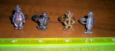 Vintage Adjustable Rings (4) Popeye Brutus Olive Oil Wimpy Brass/bronze Free S&h