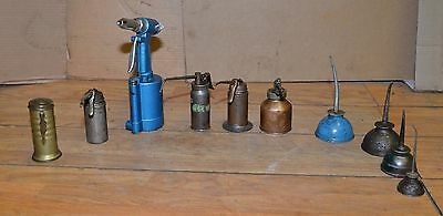 10 old vintage oil pumper cans steam punk industrial oiler collectible tool lot