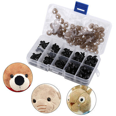 100pcs 6-12mm Black Plastic Safety Eyes for Bear Doll Puppet Plush Animal Toy