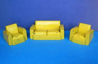 CRESCENT VINTAGE 1950s RARE DIECAST DOLLS HOUSE YELLOW THREE PIECE LOUNGE SUITE