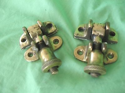 Pair of old antique vintage reclaim brass window locks and catches