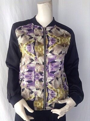 Fashion Women Satin Long Sleeve Bombers Jacket Zipper Casual Outerwear NWOT