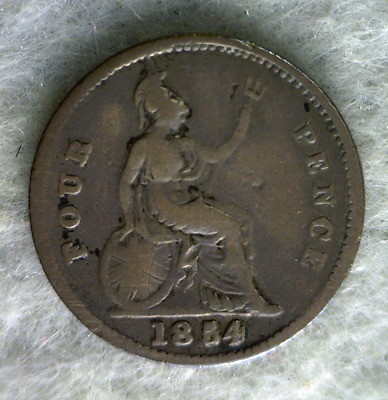 GREAT BRITAIN 4 PENCE 1854 SILVER BRITISH COIN (stock# 0353)