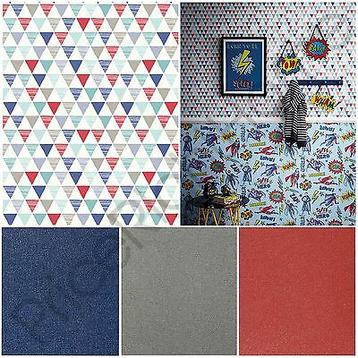 Arthouse Jester Geometric Red/blue & Glitterati Glitter Wallpaper Kids Boys