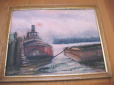 Old vintage modern oil on board of a Dockland scene by the artist Curzon