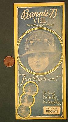1919 New York City Flapper Girl Bonnie-B Veil in original sales pouch-Brown # 2!
