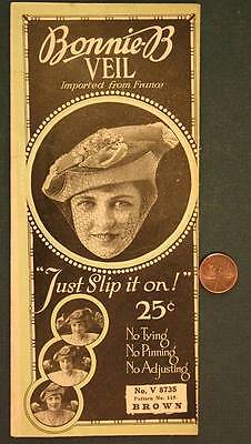 1919 New York City Flapper Girl Bonnie-B Veil in original sales pouch-Brown # 5!