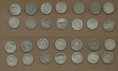 1884-1900 Great Britain Silver Victoria 3 pence lot of 14