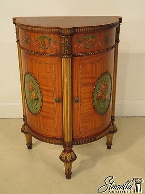 28286E:  ROBERT IRWIN Vintage Adam Style Paint Decorated Satinwood Nightstand