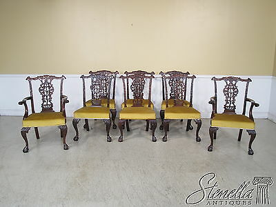 L35876: Set Of 8 Fine Quality Roccoco Carved Mahogany Dining Room Chairs