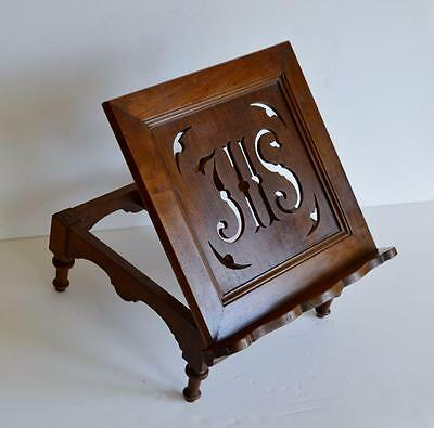 SUPERB ANTIQUE CHURCH TABLE 'IHS' MAHOGANY LECTERN / MISSAL BOOK STAND c1880s