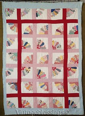 """Charming Cottage Home VINTAGE 30s Feedsack Fans QUILT 79"""" x 56"""""""