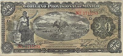 1914 20 Pesos Mexico Mexican Currency Large Banknote Note Money Bank Bill Cash