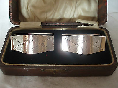 Pr Art Deco Napkin Rings In Box Sterling Silver Birmingham 1933
