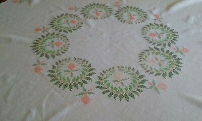 "Vintage Linen Tablecloth ~ 54"" Round ~ Hand Embroidery ~ Peach Floral"