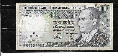 Turkey #199 1982 Vg Circ  Old 10000 Lira Banknote Paper Money Currency Bill Note
