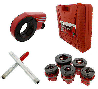 """(Closeout) ABN Ratcheting Pipe Threader Cutter 9-Piece Kit with 1/4""""-1"""" Dies"""