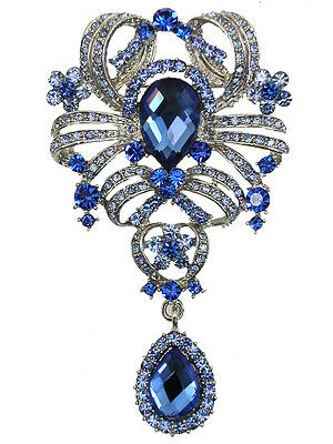 Dangle Pin Brooch Gorgeous Sapphire Color Blue Crystal Floral