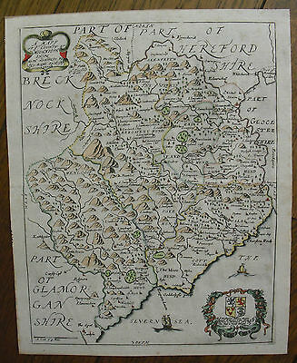 c1673, A Mapp of ye County of Monmouthshire, Richard Blome, Antique Map