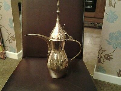Vintage Large Brass Dallah Coffee Pot With Makers Mark Floral Engraving