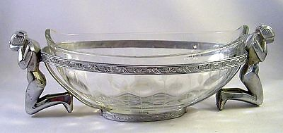 Unusual Art Deco Weeping Nude Chrome & Glass Condiment Dish or Bar Server N/R