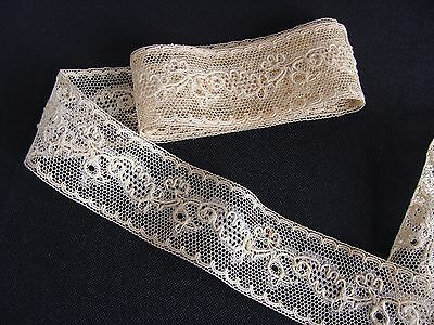 Antique Cotton Tulle Lace Trim with Raised Thread Dolls Bears