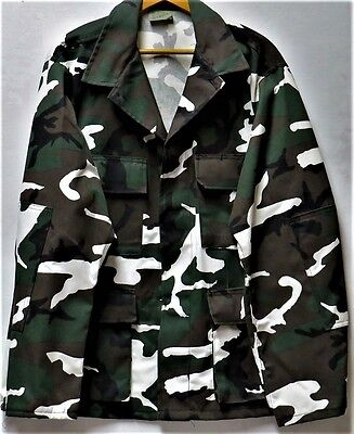Rothco Military Division White Woodland Camo BDU Coat - Size: Large-Regular