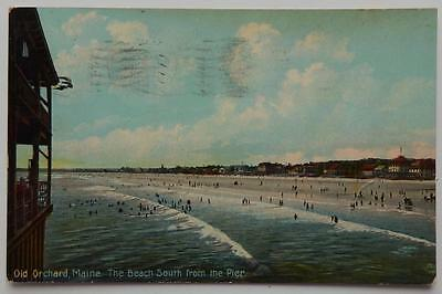 Antique 1910 Photo Postcard The Beach South From Pier Old Orchard Maine ME