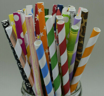 25 X Straws Paper Vintage Retro Birthday Wedding Chevron Drinking Foil Dot *UK*