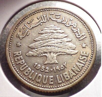 Lebanon 50 Piastres 1952, VF Silver Coin w/ Odd Toning or Maybe Stains, KM 17