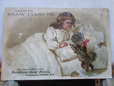 Vintage card Advertising Matchless Shaw Piano Factories - Erie, Pa.