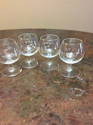 Hennessy Etched SET OF 4 Cognac Brandy Snifter Glasses EUC