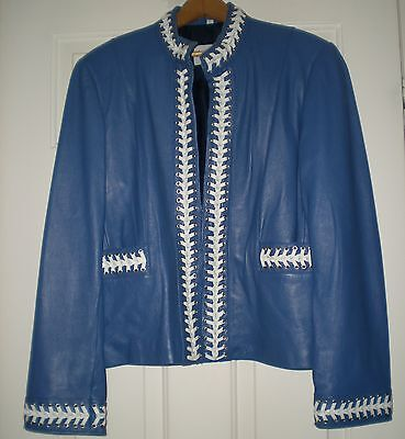 PAMELA McCOY WOMEN'S BLUE LEATHER JACKET COAT SIZE L LARGE WHITE LACES