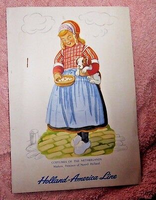 Vintage Lovely Menu Holland America Line Ss Statendam Netherlands Costumes 1957