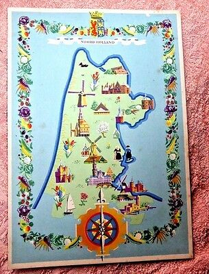 Vintage  Menu Holland America Line Ss Veendam Netherlands Cartoon  Map 1950