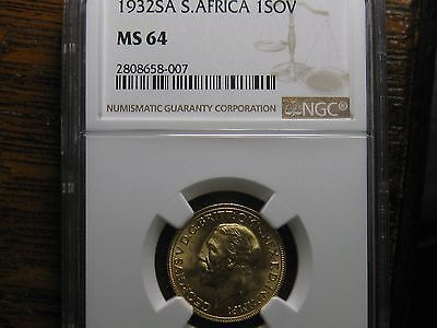 1932 South Africa Soverign Gold Ngc Ms64 High Grade Scarce!