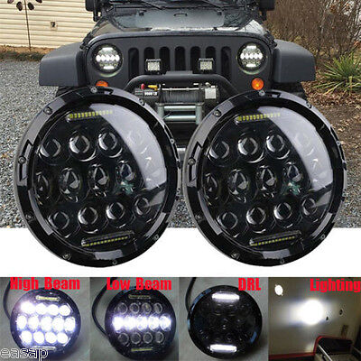 2X 7inch 75W PHILIPS LED Headlight H4 H13 DRL Hi-Lo BEAM For JEEP JK Wrangler